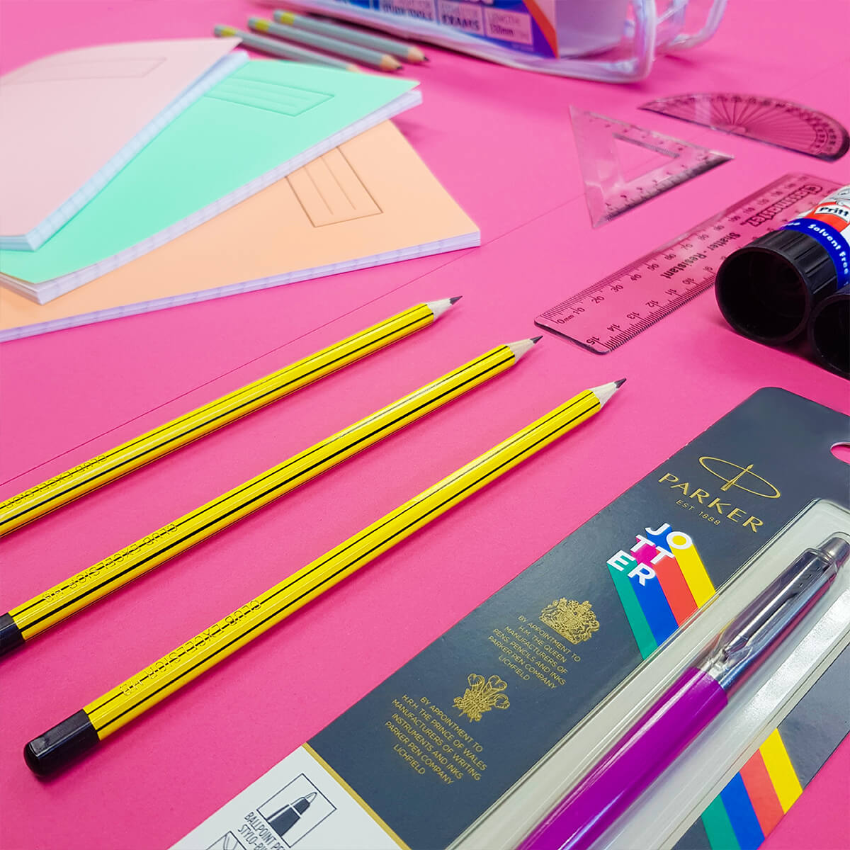 Back to School Stationery – pencils, pens, rulers, glue, notebooks, pencil cases