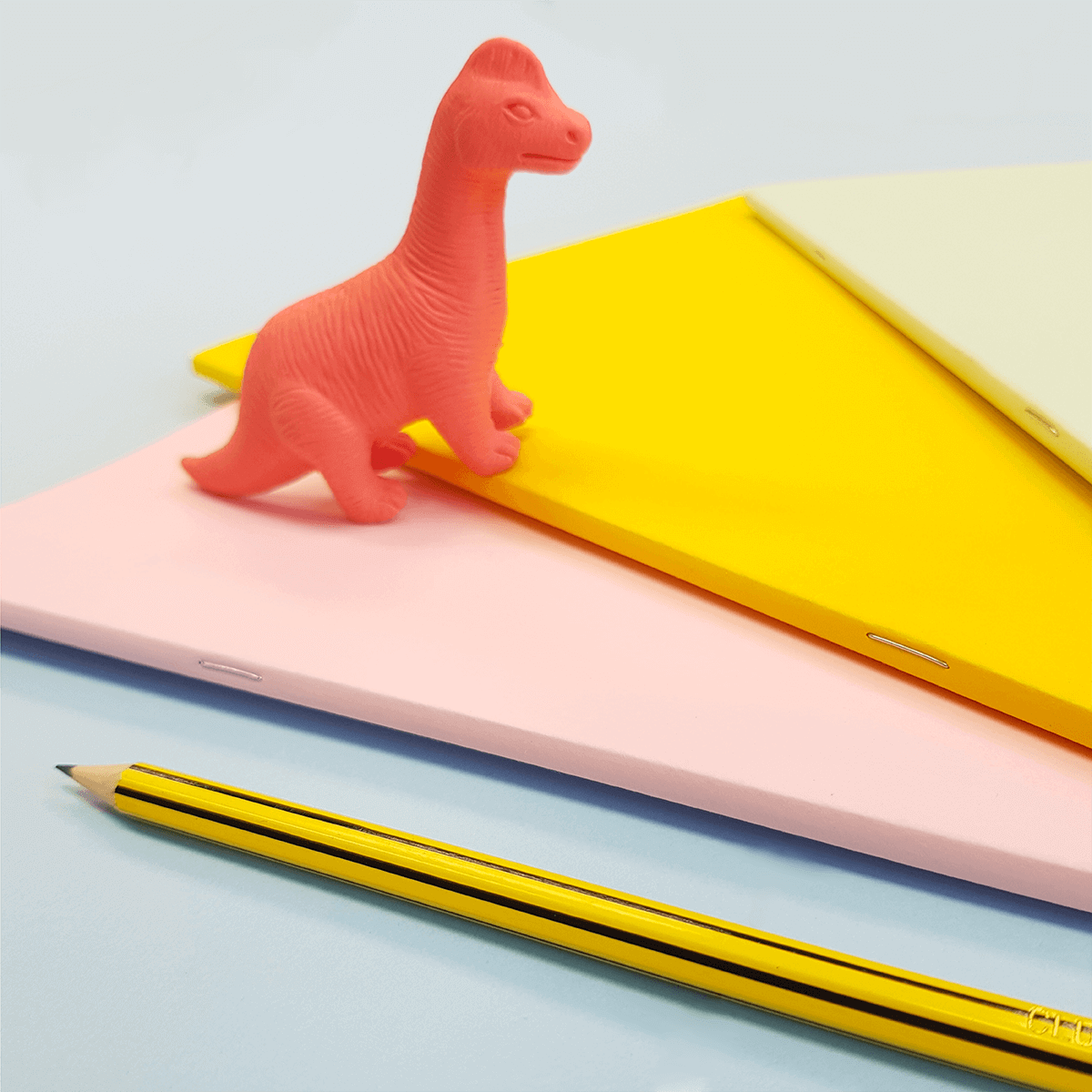 Pink dinosaur eraser, pencil and notebooks